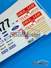 Tabu Design: Decals 1/20 scale - Lotus 72C Gold Leaf #7 - World Championship 1970 - for Ebbro kit