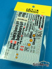 Tabu Design: Decals 1/20 scale - McLaren Honda MP4/7 Marlboro Shell - for Tamiya reference TAM25171 image