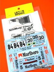Tabu Design: Marking / livery 1/24 scale - BMW M1 Group A Marlboro #5, 20, 84 - Niki Lauda (AT), Hans-Joachim Stuck (DE), David Hobbs (GB), Hans-Georg Bürger (DE), Dominique Lacaud (FR) - Procar Championship 1979  and 1980 - water slide decals, assembly instructions and painting instructions - for Revell reference REV07247