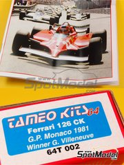 Tameo Kits: Model car kit 1/64 scale - Ferrari 126CK Fiat #27, 28 - Gilles Villeneuve (CA), Didier Pironi (FR) - Monaco Formula 1 Grand Prix 1981 - photo-etched parts, turned metal parts, water slide decals, white metal parts and assembly instructions
