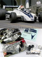 Tameo Kits: Model car kit 1/43 scale - Brabham Ford BT49 Parmalat #5, 6 - Nelson Piquet (BR), Ricardo Zunino (AR) - USA West Long Beach Grand Prix 1980 - metal parts, photo-etched parts, rubber parts, turned metal parts, water slide decals, white metal parts and assembly instructions