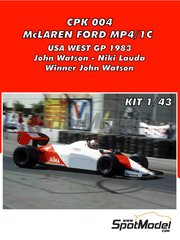 Tameo Kits: Model car kit 1/43 scale - McLaren Ford MP4/1C Marlboro #7, 8 - John Watson (GB), Niki Lauda (AT) - USA West Long Beach Grand Prix 1983 - photo-etched parts, turned metal parts, water slide decals, white metal parts and assembly instructions