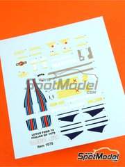 Tameo Kits: Marking / livery 1/43 scale - Lotus Ford Type 79 Essex #1, 2 - Mario Andretti (US), Carlos Reutemann (AR) - Italian Grand Prix 1979 - water slide decals - for Tameo Kits reference CPK002 image