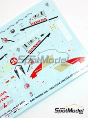Tameo Kits: Marking / livery 1/43 scale - BAR Honda 006 Lucky Strike #35 - Anthony Davidson (GB) - Italian Grand Prix 2004 - water slide decals - for Tameo Kits kit SLK083