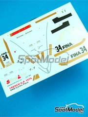 Tameo Kits: Decals 1/43 scale - Brabham Ford BT42/3 Fina #34 - Carlos Pace (BR) - French Grand Prix 1974 - for Tameo Kits kit SLK091