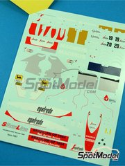 Tameo Kits: Decals 1/43 scale - Toleman Hart TG183B Magirus #19, 20 - Ayrton Senna (BR), Johnny Cecotto (VE) - Brazilian Grand Prix 1984 - for Tameo Kits kit SLK096