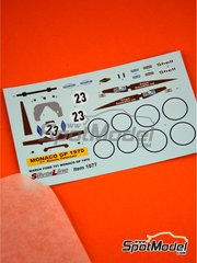 Tameo Kits: Marking 1/43 scale - March Ford 701 Antique Automobiles Ltd #23 - Ronnie Peterson (SE) - Monaco Grand Prix 1970 - water slide decals - for Tameo Kits kit SLK102