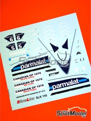 Tameo Kits: Marking / livery 1/43 scale - Brabham Ford BT49 Parmalat #5, 6 - Ricardo Zunino (AR), Niki Lauda (AT), Nelson Piquet (BR) - Canadian Grand Prix 1979 - water slide decals - for Tameo Kits reference SLK110