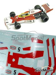 Tameo Kits: Marking / livery 1/43 scale - McLaren Ford M23 Texaco #5 - Emerson Fittipaldi (BR) - Brazilian Grand Prix 1974 - water slide decals - for Tameo Kits kit WCT074