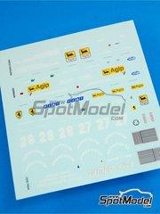 Tameo Kits: Marking / livery 1/43 scale - Ferrari 126C3 Fiat Agip #27, 28 - Patrick Tambay (FR), Rene Arnoux (FR) - Press version 1983 - water slide decals - for Tameo Kits reference TMK007