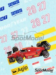 Tameo Kits: Marking / livery 1/43 scale - Ferrari F1/86 - Michele Alboreto (IT), Stefan Johansson (SE) - Brazilian Grand Prix 1986 - water slide decals - for Tameo Kits reference TMK039