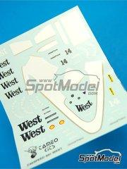Tameo Kits: Marking / livery 1/43 scale - Zakspeed ZK841 West #14 - Jonathan Palmer (GB) - Monaco Grand Prix 1986 - water slide decals - for Tameo Kits reference TMK044
