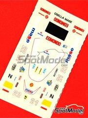 Tameo Kits: Marking / livery 1/43 scale - Osella Alfa Romeo FA1/G #21, 22 - Christian Danner (DE), Piercarlo Ghinzani (IT) - USA Formula 1 Grand Prix 1986 - water slide decals - for Tameo Kits reference TMK045