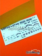Tameo Kits: Marking / livery 1/43 scale - Lotus Honda 99T Camel #11, 12 - Ayrton Senna (BR), Satoru Nakajima (JP) - Brazilian Grand Prix 1987 - water slide decals - for Tameo Kits reference TMK053
