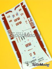 Tameo Kits: Marking / livery 1/43 scale - Arrows Megatron A10 Bosch #17, 18 - Eddie Cheever (US), Derek Warwick (GB) - Brazilian Grand Prix 1987 - water slide decals - for Tameo Kits reference TMK057