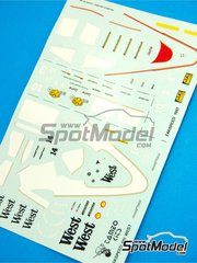 Tameo Kits: Marking / livery 1/43 scale - Zakspeed ZK871 West #14 - Martin Brundle (GB), Christian Danner (DE) - Italian Grand Prix 1987 - water slide decals - for Tameo Kits reference TMK066