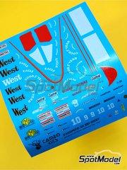 Tameo Kits: Marking / livery 1/43 scale - Zakspeed ZK881 West #9, 10 - Piercarlo Ghinzani (IT), Bernd Schneider (DE) - Monaco Formula 1 Grand Prix 1988 - water slide decals - for Tameo Kits reference TMK079