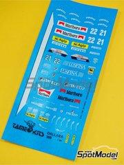 Tameo Kits: Marking / livery 1/43 scale - BMS Dallara Cosworth 189 Marlboro #21, 22 - Andrea de Cesaris (IT), Alex Caffi (IT) - San Marino Formula 1 Grand Prix 1989 - water slide decals - for Tameo Kits reference TMK097