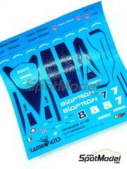 Tameo Kits: Marking / livery 1/43 scale - Brabham Judd BT58 Bioptron #7, 8 - Martin Brundle (GB) - Monaco Formula 1 Grand Prix 1989 - water slide decals - for Tameo Kits reference TMK101