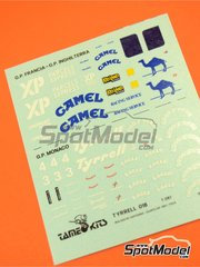 Tameo Kits: Marking / livery 1/43 scale - Tyrrell Cosworth 018 Camel #3, 4 - Jean Alesi (FR), Jonathan Palmer (GB) - French Formula 1 Grand Prix 1989 - water slide decals - for Tameo Kits reference TMK111
