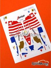 Tameo Kits: Marking / livery 1/43 scale - Toleman Hart TG184 Segafredo #19, 20 - Ayrton Senna (BR), Johnny Cecotto (VE) - Portuguese Formula 1 Grand Prix 1984 - water slide decals - for Tameo Kits reference TMK229