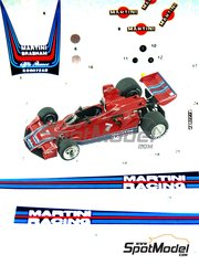 Tameo Kits: Decals 1/43 scale - Brabham Alfa Romeo BT45 Martini Racing #7 - Carlos Reutemann (AR), Carlos Pace (BR) - Spanish Grand Prix 1976 - for Tameo Kits kit TMK307