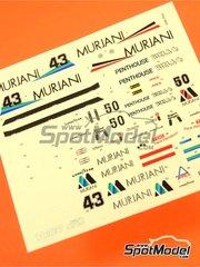 Tameo Kits: Decoración escala 1/43 - Williams Ford FW07 Murjani Penthouse Nº 43, 50 - Desiré Wilson (ZA), Rupert Keegan (GB) - Gran Premio de Inglaterra 1980 - calcas de agua - para la referencia de Tameo Kits TMK325