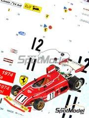 Tameo Kits: Decals 1/43 scale - Ferrari 312B3 #11, 12 - Niki Lauda (AT), Clay Regazzoni (CH) - Argentine Grand Prix 1974 - for Tameo Kits kit TMK372