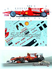 Tameo Kits: Marking / livery 1/43 scale - Ferrari F10 Banco Santander #7, 8 - Fernando Alonso (ES), Felipe Massa (BR) - Bahrain Grand Prix 2010 - water slide decals - for Tameo Kits reference TMK389
