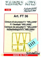 Tameo Kits: Seatbelts 1/43 scale - F1 Seatbelt Willans - photo-etched parts and water slide decals - 2 units