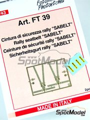 Tameo Kits: Seatbelts 1/43 scale - Seatbelt rally Sabelt - photo-etched parts and water slide decals - 2 units