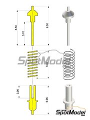 Tameo Kits: Detail 1/43 scale - Shock absorber with coil spring - 4 units