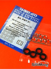 Tameo Kits: Rims and tyres set 1/43 scale - 2 wing nuts 1950 spoked wheels - tyres, rims, turned metal parts and photo-etched parts