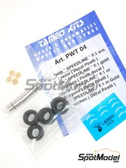 Tameo Kits: Rims and tyres set 1/43 scale - Speedline F1 gold 8 spokes  - photo-etched parts, rubber parts, turned metal parts and water slide decals