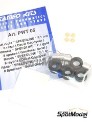 Tameo Kits: Rims and tyres set 1/43 scale - Speedline F1 gold 8 spokes  - Goodyear decals, rims, tyres and photo-etch