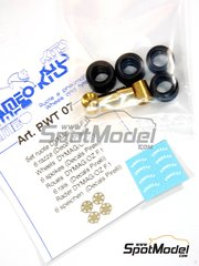 Tameo Kits: Rims and tyres set 1/43 scale - DYMAG - OZ F1 6 spokes  - photo-etched parts, rubber parts, turned metal parts and water slide decals