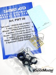 Tameo Kits: Rims and tyres set 1/43 scale - Speedline - DYMAG - 5 spokes  - photo-etched parts, rubber parts, turned metal parts, water slide decals and assembly instructions