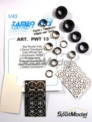 Tameo Kits: Rims and tyres set 1/43 scale - Indy Wheels set  - photo-etched parts, rubber parts, turned metal parts, water slide decals and assembly instructions