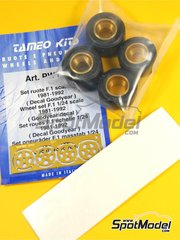 Tameo Kits: Rims and tyres set 1/24 scale - F1 Wheel set F1  1981, 1982, 1983, 1984, 1985, 1986, 1987, 1988, 1989, 1990, 1991 and 1992 - Goodyear decals, rims, tyres and photo-etch