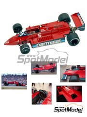 Tameo Kits: Model car kit 1/43 scale - Brabham Alfa Romeo BT48 Parmalat #5, 6 - Niki Lauda (AT), Nelson Piquet (BR) - Monaco Formula 1 Grand Prix 1979 - photo-etched parts, turned metal parts, water slide decals, white metal parts and assembly instructions