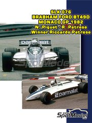 Tameo Kits: Model car kit 1/43 scale - Brabham Ford BT49D Parmalat #2 - Nelson Piquet (BR), Riccardo Patrese (IT) - Monaco Formula 1 Grand Prix 1982 - photo-etched parts, turned metal parts, water slide decals, white metal parts and assembly instructions