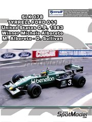 Tameo Kits: Model car kit 1/43 scale - Tyrrell Ford 011 Benetton #3, 4 - Michele Alboreto (IT), Danny Sullivan (US) - USA Grand Prix 1983 - photo-etched parts, turned metal parts, water slide decals, white metal parts and assembly instructions