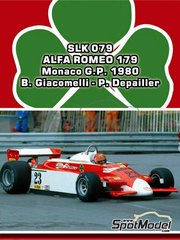 Tameo Kits: Model car kit 1/43 scale - Alfa Romeo 179 Marlboro #22, 23 - Bruno Giacomelli (IT), Patrick Depailler (FR) - Monaco Grand Prix 1980 - photo-etched parts, turned metal parts, water slide decals, white metal parts and assembly instructions