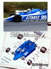 Tameo Kits: Model car kit 1/43 scale - Ligier Ford JS11/15 Gitanes #25, 26 - Didier Pironi (FR), Jacques Laffite (FR) - Belgian Grand Prix 1980 - photo-etched parts, turned metal parts, water slide decals, white metal parts and assembly instructions