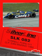 Tameo Kits: Model car kit 1/43 scale - Tyrrell Ford 011 Candy - Michele Alboreto (IT), Brian Henton (GB) - San Marino Grand Prix 1982 - photo-etched parts, turned metal parts, water slide decals, white metal parts and assembly instructions
