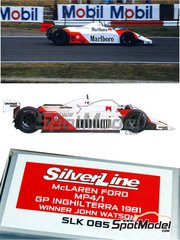 Tameo Kits: Model car kit 1/43 scale - McLaren Ford MP4/1 Marlboro #7, 8 - John Watson (GB), Andrea de Cesaris (IT) - British Grand Prix 1981 - photo-etched parts, turned metal parts, water slide decals, white metal parts and assembly instructions