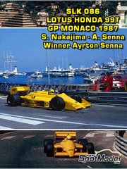 Tameo Kits: Model car kit 1/43 scale - Lotus Honda 99T DeLonghi #11, 12 - Satoru Nakajima (JP), Ayrton Senna (BR) - Monaco Formula 1 Grand Prix, San Marino Grand Prix 1987 - photo-etched parts, turned metal parts, water slide decals, white metal parts and assembly instructions