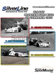 Tameo Kits: Model car kit 1/43 scale - Brabham Ford BT42 Ceramica Pagnossin #9, 10, 11 - Wilson Fittipaldi (BR) + Rolf Stommelen (DE) + Carlos Reutemann (AR) - German Grand Prix 1973 - photo-etched parts, turned metal parts, water slide decals, white metal parts and assembly instructions