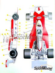 Tameo Kits: Model car kit 1/43 scale - McLaren Ford M23 Texaco Marlboro #1, 2 - Emerson Fittipaldi (BR), Jochen Mass (DE) - British Grand Prix 1975 - photo-etched parts, turned metal parts, water slide decals, white metal parts and assembly instructions