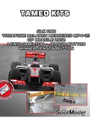 Tameo Kits: Model car kit 1/43 scale - McLaren Mercedes MP4-27 Vodafone #1, 2 - Jenson Button (GB), Lewis Hamilton (GB) - Brazilian Grand Prix 2012 - photo-etched parts, turned metal parts, water slide decals, white metal parts and assembly instructions